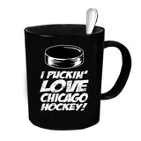 Custom Personalized Puckin Love Chicago Hockey Black 15 oz Coffee Mug