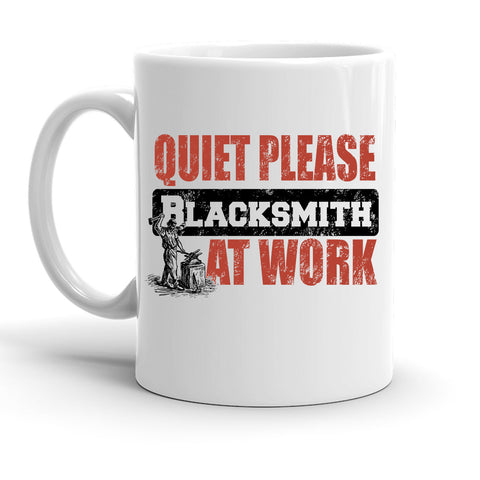 Custom Personalized Quiet Please Blacksmith At Work White 15 oz Coffee Mug