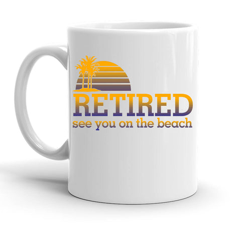 Custom Personalized Retired Beach White 15 oz Coffee Mug