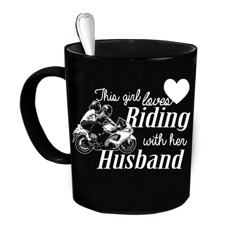 Custom Personalized Riding With Husband Black 15 oz Coffee Mug