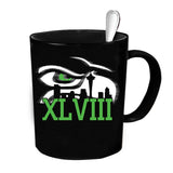Custom Personalized Hawks XLVIII Black 15 oz Coffee Mug