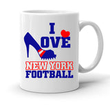 Custom Personalized I Love New York Football White 15 oz Coffee Mug