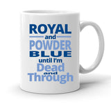 Custom Personalized Royal And Powder Blue White 15 oz Coffee Mug