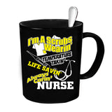 Custom Personalized Scrubs Wearin' Nurse Black 15 oz Coffee Mug