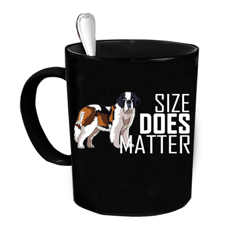 Custom Personalized Size Matters DOG Black 15 oz Coffee Mug