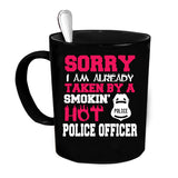 Custom Personalized Smokin Hot Police Officer Black 15 oz Coffee Mug