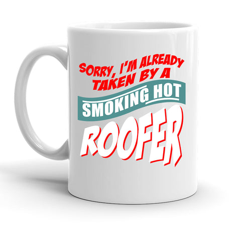 Custom Personalized Smoking Hot Roofer White 15 oz Coffee Mug