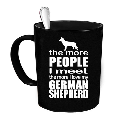 Custom Personalized The More I Love My Shepherd Black 15 oz Coffee Mug