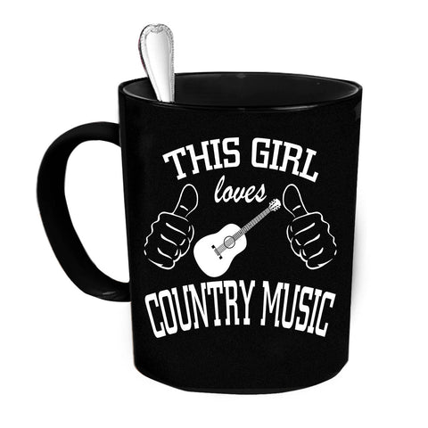 Custom Personalized This Girl Loves Country Music Black 15 oz Coffee Mug