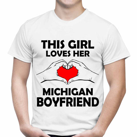 This Girl Loves Michigan Boyfriend White T-Shirt