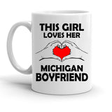 Custom Personalized This Girl Loves Michigan Boyfriend White 15 oz Coffee Mug