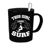 Custom Personalized This Girl Loves To Surf Black 15 oz Coffee Mug