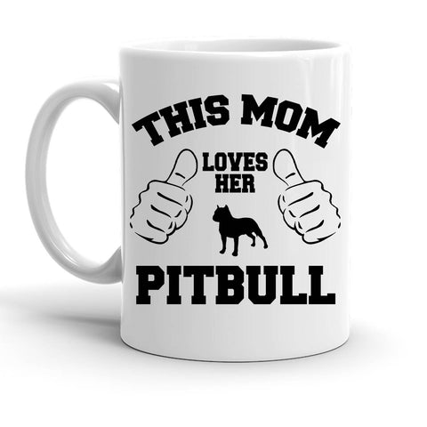 Custom Personalized This Mom Loves Her Pitbull White 15 oz Coffee Mug
