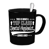Custom Personalized Top Class Dental Hygienist Black 15 oz Coffee Mug