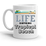 Custom Personalized Tropical Beach White 15 oz Coffee Mug