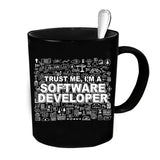 Custom Personalized Trust Me I'm A Software Developer Black 15 oz Coffee Mug