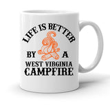 Custom Personalized West Virginia Campfire White 15 oz Coffee Mug