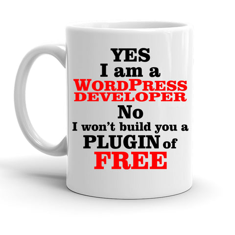 Custom Personalized Wordpress Developer White 15 oz Coffee Mug