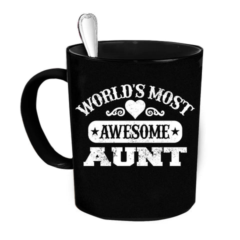 Custom Personalized Worlds Most Awesome Aunt Black 15 oz Coffee Mug