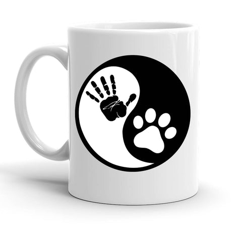 Custom Personalized Yin Yang Paw Hand White 15 oz Coffee Mug