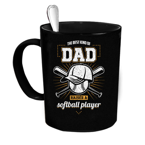 Custom Dad Softball Player Black Coffee Mug