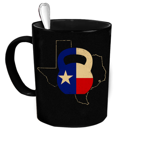 Custom Personalized Texas Kettle Bell Black 15 Oz Coffee Mug