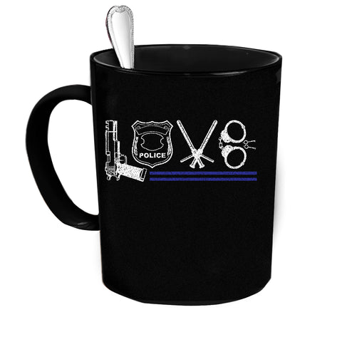Custom Personalized Love Police Black Coffee Cup