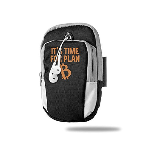 It's Time For Plan Bitcoin Sports Armband Walking Biking Riding Arm Package Bag For Smartphone IPhone 6 7 8 X Android Samsung Galaxy