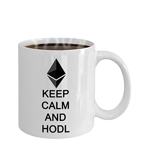 MyFaveGift Keep Calm And HODL Ethereum 11oz Ceramic Mug Tea Cup Crypto Cryptocurrency ETH Mug Team HODL