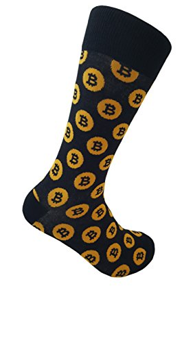 Bitcoin Men's Socks,Black, Yellow,US 7 - 13