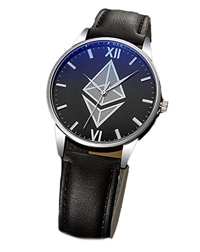 Ethereum Watch - Mens Wrist Watch - Classic Black Leather | Ethereum Gift | Bitcoin and Ethereum Coin - Crypto to the Moon