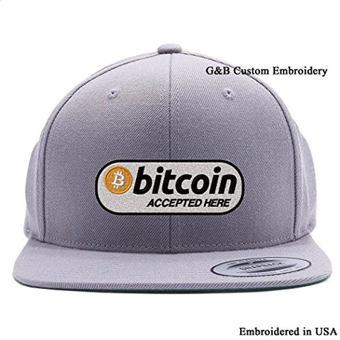 G&B Custom Embroidery Bitcoin Hat, Bitcoin Logo Embroidered Snapback Cap