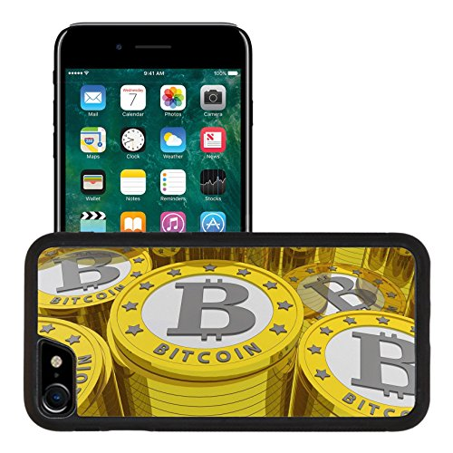 Liili Premium Apple iPhone 7 iPhone 8 Aluminum Snap Case bitcoins background Bitcoin is a new virtual money for internet trading and business IMAGE ID 19084175