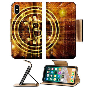Luxlady Premium Apple iPhone X Flip Pu Leather Wallet Case IMAGE ID 27545049 golden bitcoin symbol digital abstract background