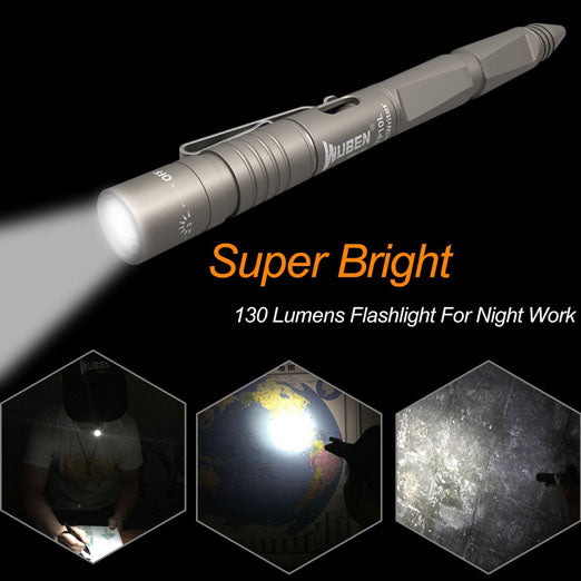 WUBEN Tactical Penlight,Waterproof IPX8,Pen Portable,Rechargeable Torch (for Outdoor Self-defense and Business Office Equipment) with Bright 130 Lumens CREE XPE2-LED,10180 Battery Included