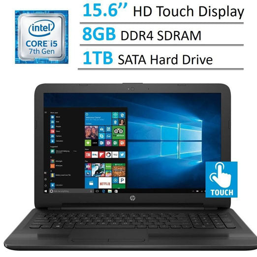 HP 15.6'' HD Touchscreen TruBrite Display Laptop PC, Intel Dual Core i5-7200U 2.5GHz Processor, 8GB DDR4 SDRAM, 1TB HDD, HDMI, HD Graphics 620, DTS Studio Sound, DVD Burner, Windows 10