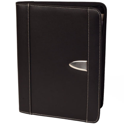 eFolio Business Portfolio - Genuine Bonded Leather Padfolio - Premium Resume Portfolio Organizer with Zippered Closure, A4 Writing Pad, Calculator, iPad/Tablet Sleeve, Card Holder & More - Black