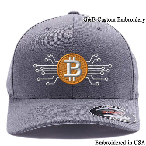 Bitcoin Hat. Bitcoin Digital Currency. Embroidered. 6477 Flexfit Baseball Cap.