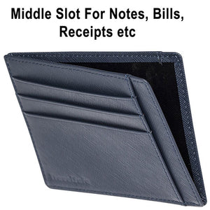 Genuine Leather RFID Credit Card Holder – Slim RFID Blocking Credit Card Holder For Men and Women Can Hold Up To 8 Debit Credit Card Slots - Thin Leather RFID Credit Card Holder Wallet Case (Blue)