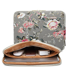 KAYOND Gray Rose Pattern 15 inch Canvas laptop sleeve with pocket 15inch 15.6 inch laptop case macbook pro 15.4 sleeve