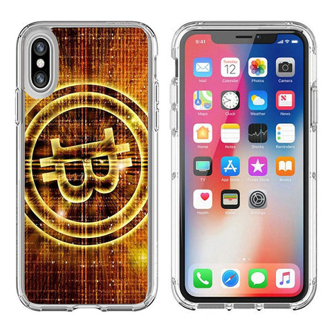 Luxlady Apple iPhone X Clear case Soft TPU Rubber Silicone Bumper Snap Cases iPhoneX IMAGE ID 27545049 golden bitcoin symbol digital abstract background