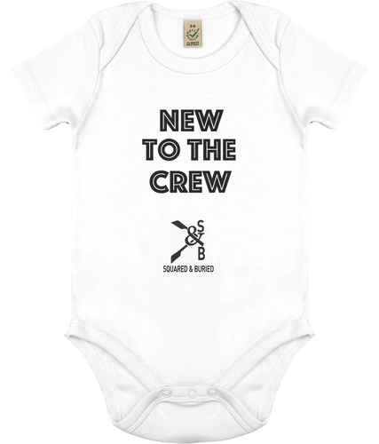 ORGANIC ROWING BABYGROW NEW TO THE CREW - British Rowing Apparel - Squared & Buried