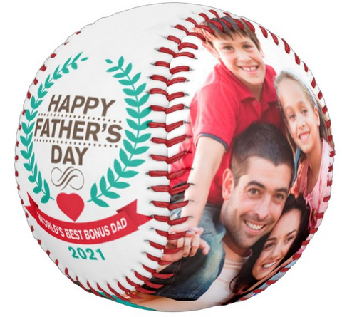 Personalized Photo Baseball Gift-B1005-Happy Father's Day-BEST BONUS DAD IN THE WORLD-2021