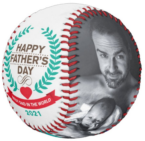 Personalized Photo Baseball Gift-B1002-Happy Father's Day-BEST DAD IN THE WORLD-2021