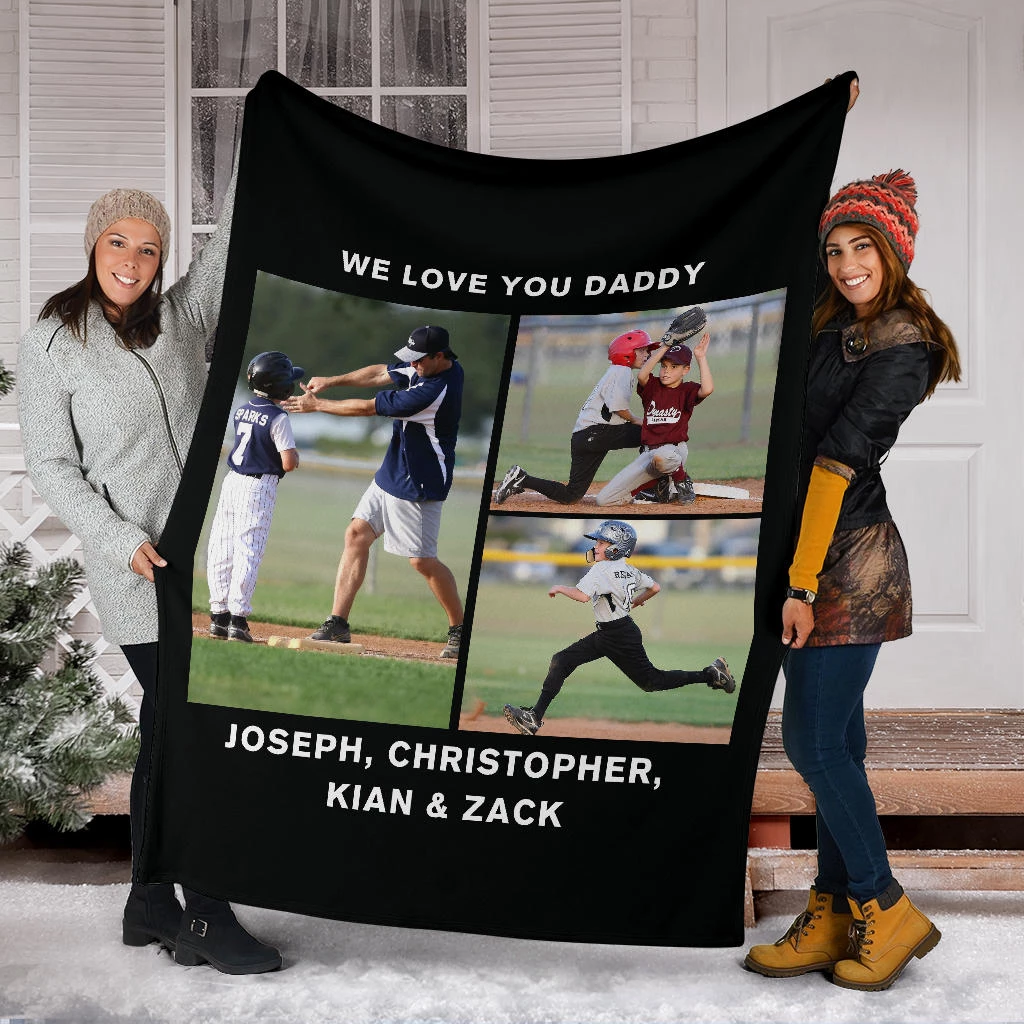 Lovely Baseball Blanket for Daddy Personalized - GFI0000P2a