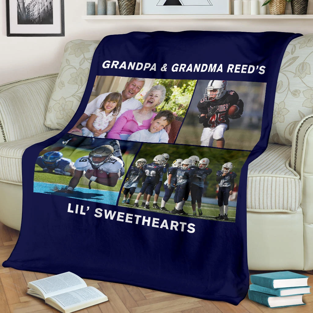 Lovely Football Blanket for Grandparents Personalized - GFI0002P2c