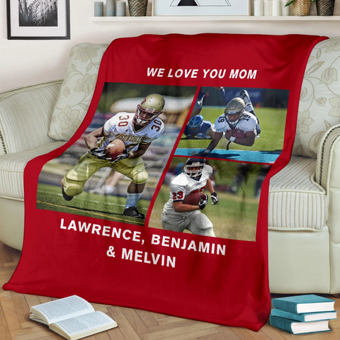 Lovely Football Blanket for Mom Personalized - GFI0002P2a
