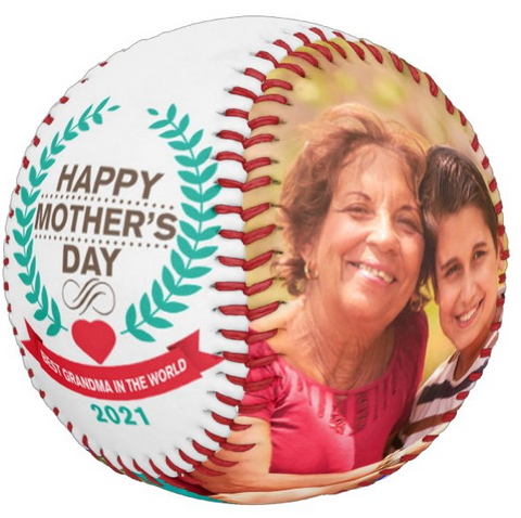 Personalized Photo Baseball Gift-B109-Happy Mother's Day-BEST GRANDMA IN THE WORLD-2021