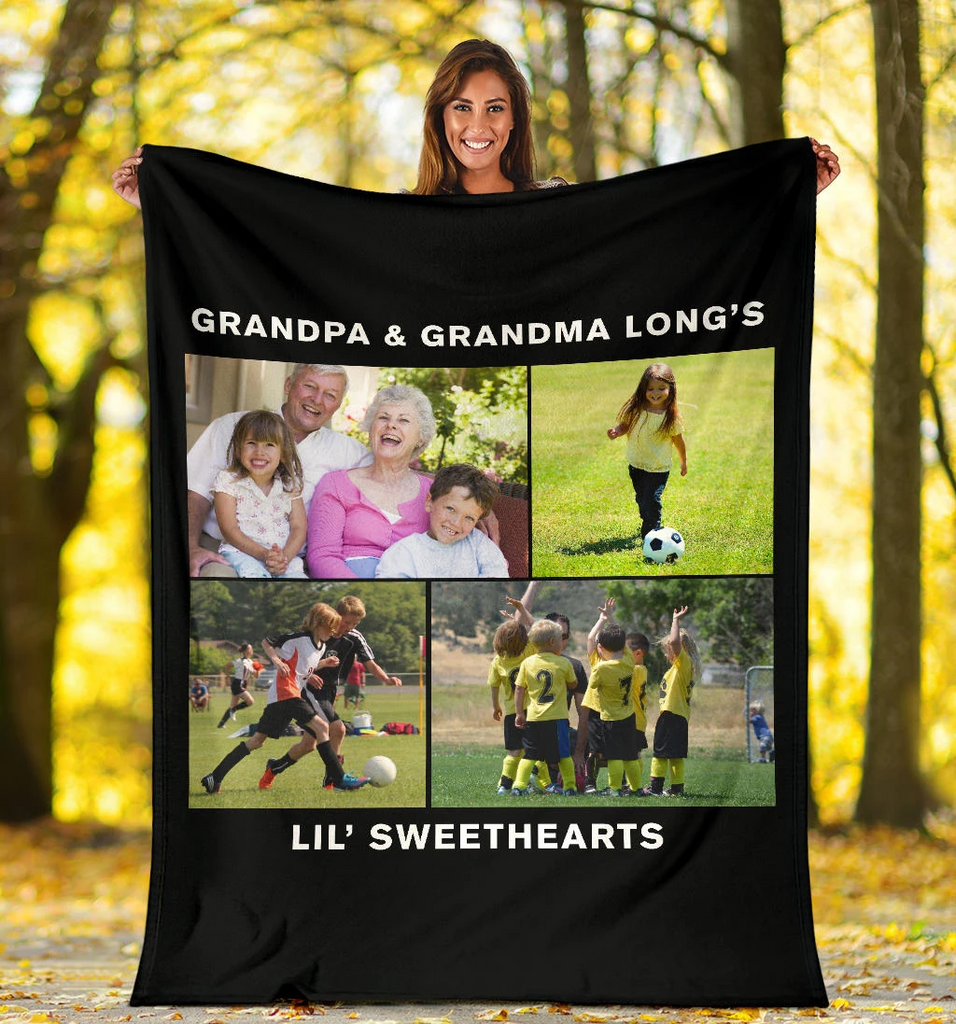 Lovely Soccer Blanket for Grandparents Personalized - GFI0003P2c