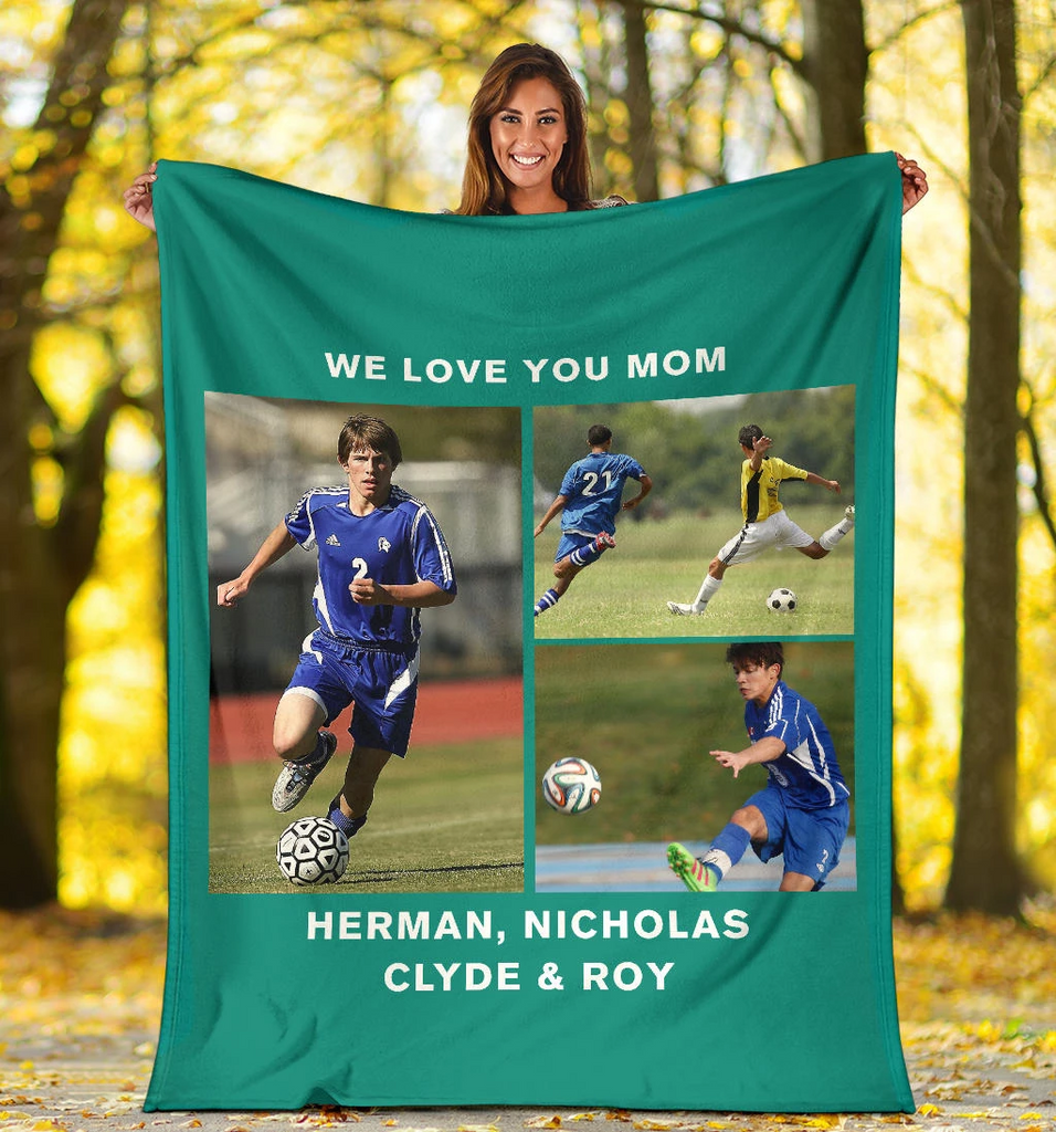 Lovely Soccer Blanket for Mom Personalized - GFI0003P2a